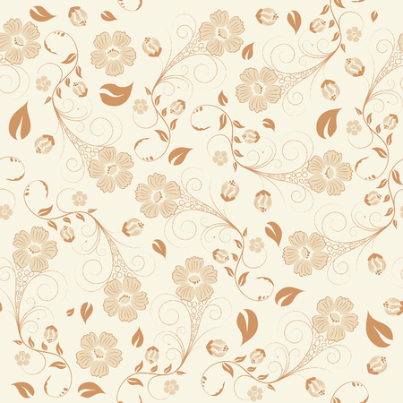 Seamless vector floral background. For easy making seamless pattern just drag all group into swatches bar, and use it for filling any contours. Illustration