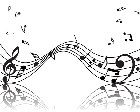 pentagrama musical: Vector musical notas de antecedentes del personal para el uso de dise�o Vectores