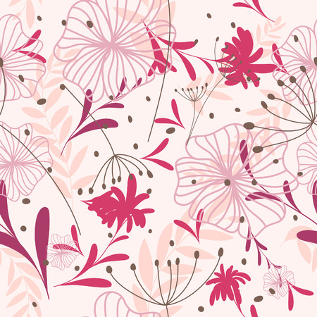 swatches: Seamless vector floral background. For easy making seamless pattern just drag all group into swatches bar, and use it for filling any contours. Illustration
