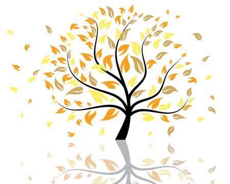 Vector illustration de l'arbre d'automne avec la chute des feuilles