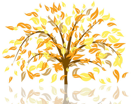 Vector illustration of autumn tree with falling leaves Stock Vector - 5603186