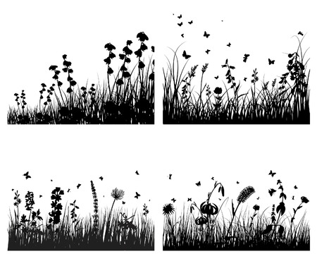 Vector grass silhouettes background with reflection in water. All objects are separated. Stock Vector - 5603192