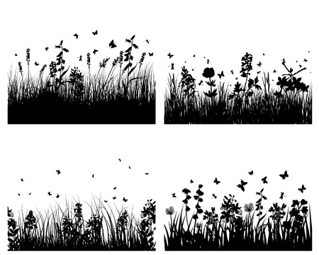 Vector grass silhouettes background with reflection in water. All objects are separated. Stock Vector - 5603191