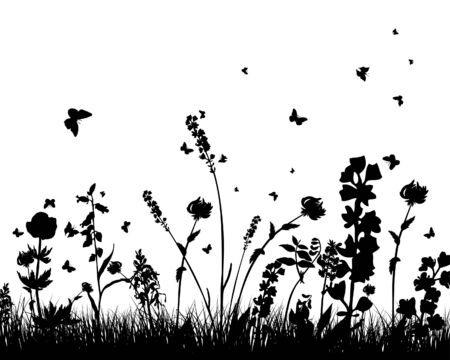 landscaped garden: Vector grass silhouettes background. All objects are separated. Illustration