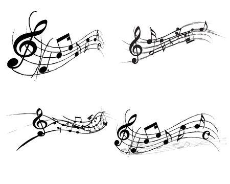 Vector musical toma nota de antecedentes de personal para su uso de diseño
