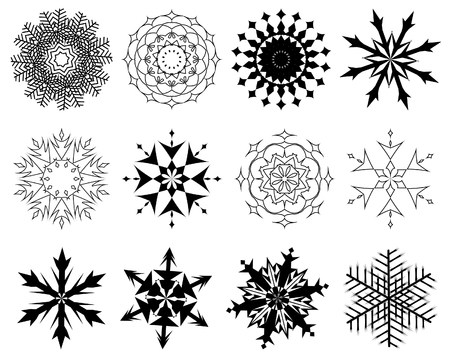 Biggest collection of vector snowflakes in different shape Vector