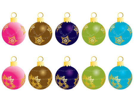 Set of Christmas (New Year) balls for design use. Vector illustration. Stock Vector - 5657469