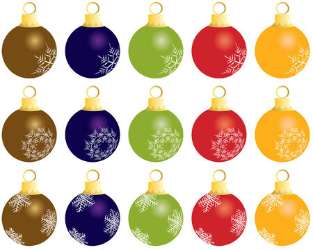 Set of Christmas (New Year) balls for design use. Vector illustration. Stock Vector - 5657491