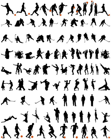 Big collection of different people vector silhouette. Dance and sport. Vector