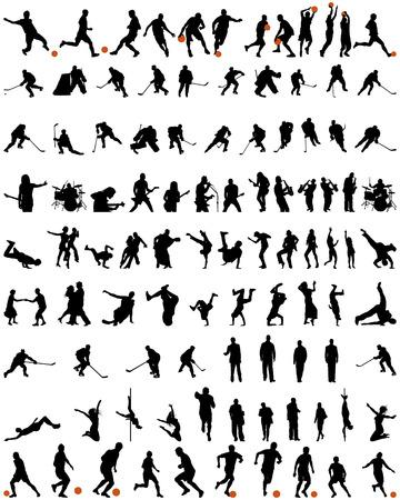 dance: Gran colecci�n de siluetas diferentes personas del vector. La danza y el deporte. Vectores