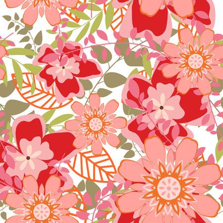 Arrière-plan floral vectorielle continue. Facile pattern transparente prise juste faites glisser groupe tous les dans la barre de nuanciers et utilisez-le pour toute les contours de remplissage.