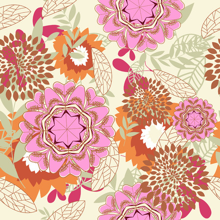 Seamless vector floral background. For easy making seamless pattern just drag all group into swatches bar, and use it for filling any contours. Stock Vector - 5657510