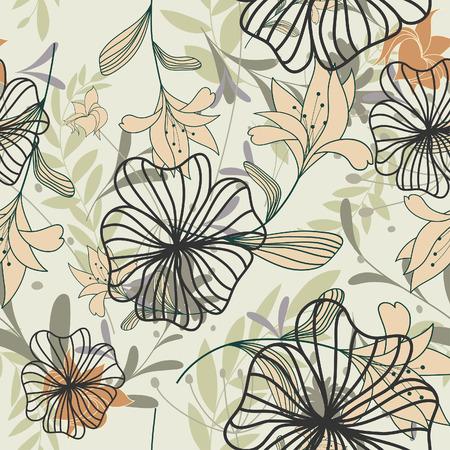 Floral background vettoriale senza soluzione di continuità. Per facile fare senza saldatura pattern solo trascinare tutti i gruppo nella barra di campioni e utilizzarlo per ogni contorno di riempimento.