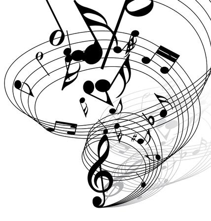 notas musicales: Vector musical notas de antecedentes del personal para el uso de dise�o Vectores