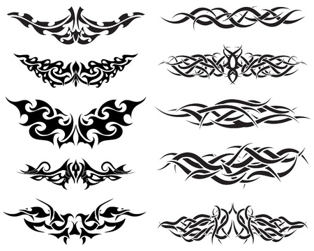tribal tattoo: Patterns of tribal tattoo for design use
