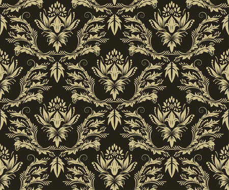 drapes: Damask seamless vector background.  For easy making seamless pattern just drag all group into swatches bar, and use it for filling any contours. Illustration