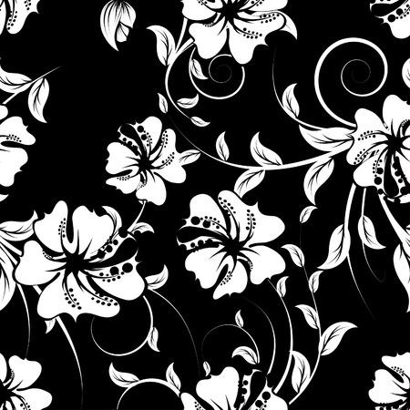 Arrière-plan floral de vecteur transparente. Simple motif transparente faisant juste faites glisser tous les groupe dans la barre de nuances et utilisez-le pour remplir les contours.  Vecteurs