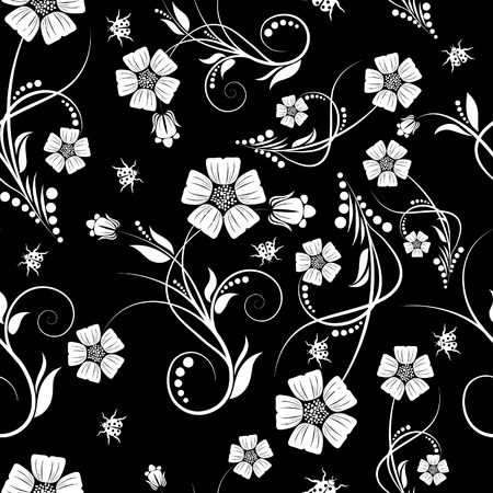 Seamless vector floral background. For easy making seamless pattern just drag all group into swatches bar, and use it for filling any contours. Stock Vector - 5686069