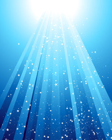 Underwater rays with many stars. Vector illustration.