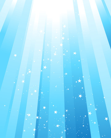 Underwater rays with many stars. Vector illustration. Vector