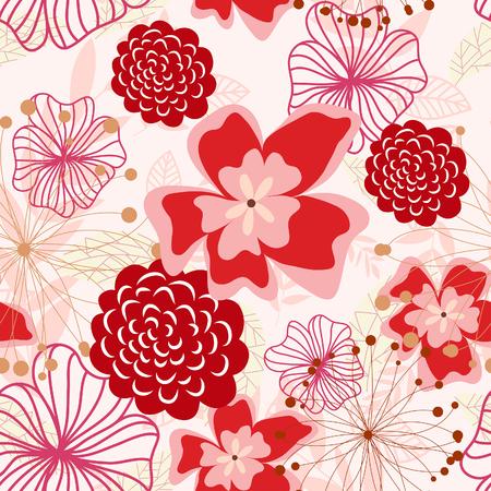 remplissage: Arri�re-plan floral vectorielle continue. Facile pattern transparente prise juste faites glisser groupe tous les dans la barre de nuanciers et utilisez-le pour toute les contours de remplissage.