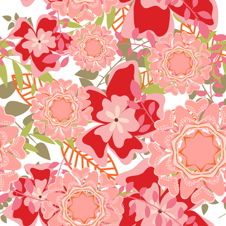 Seamless vector floral background. For easy making seamless pattern just drag all group into swatches bar, and use it for filling any contours. Stock Vector - 5698478