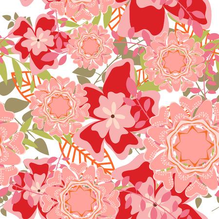 Floral de vector transparente de fondo. Para fácil patrón transparente haciendo simplemente arrastre grupo todos en la barra de muestras y utilizarlo para llenar cualquier contornos.