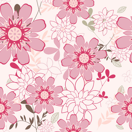Seamless vector floral background. For easy making seamless pattern just drag all group into swatches bar, and use it for filling any contours. Stock Vector - 5698452