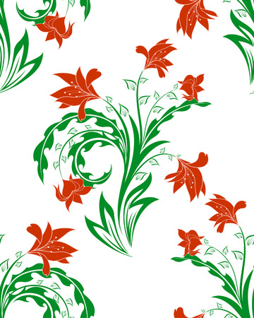 Seamless vector floral background. For easy making seamless pattern just drag all group into swatches bar, and use it for filling any contours. Stock Vector - 5716864