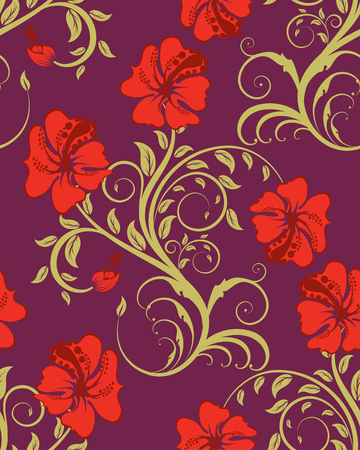 Seamless vector floral background. For easy making seamless pattern just drag all group into swatches bar, and use it for filling any contours. Stock Vector - 5716857