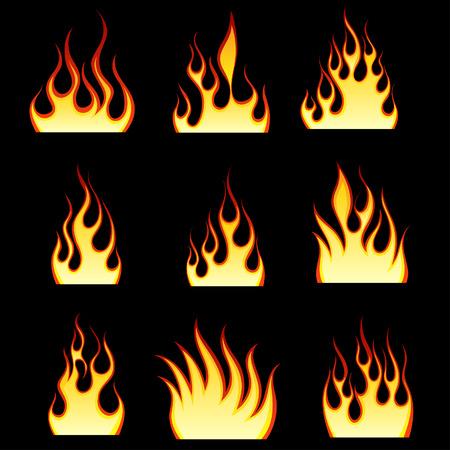 Serie di modelli di fuoco differenti per usare il disegno Vettoriali