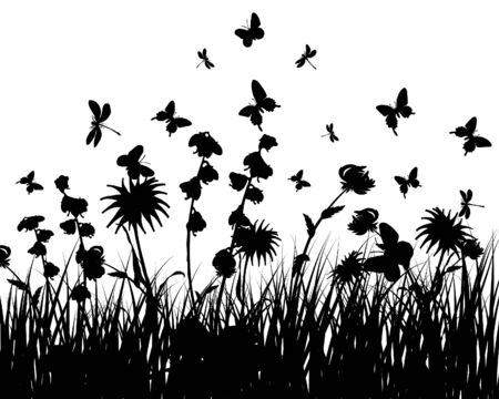 Vector grass silhouettes background. All objects are separated. Stock Vector - 5716848