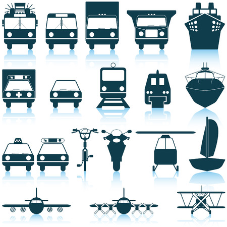 carro bomberos: Conjunto de transporte de iconos de la web de vector diferentes
