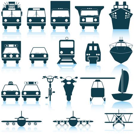 camion pompier: Jeu de transport de diff�rents vecteurs web ic�nes