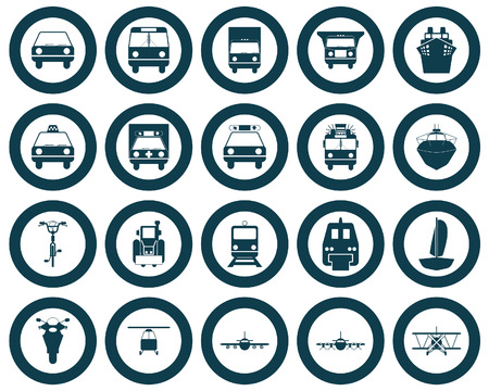 Transportation set of different vector web icons Vector