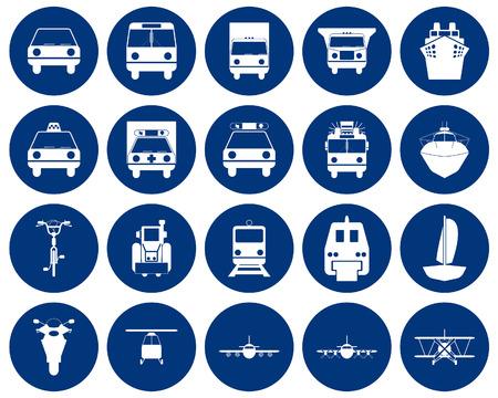 monorail: Transportation set of different web icons Illustration