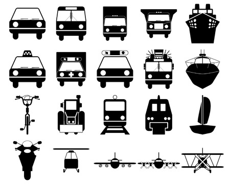 monorail: Transportation set of different web icons Illustration