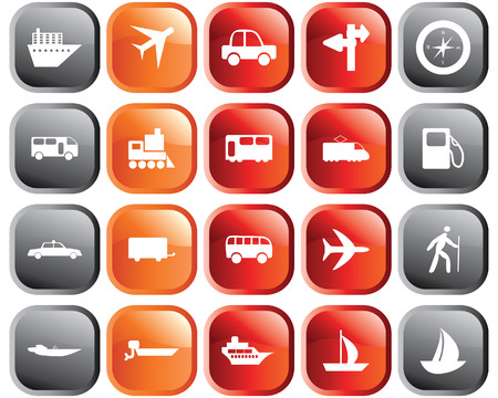 group travel: Transportation set of different vector web icons