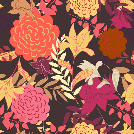 Seamless vector floral background. For easy making seamless pattern just drag all group into swatches bar, and use it for filling any contours. Stock Vector - 5762094
