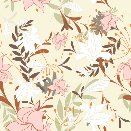 it background: Seamless vector floral background. For easy making seamless pattern just drag all group into swatches bar, and use it for filling any contours. Illustration