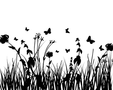 Vector grass silhouettes background. All objects are separated. Stock Vector - 5804418