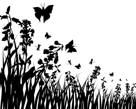Vector grass silhouettes background. All objects are separated. Stock Vector - 5804415