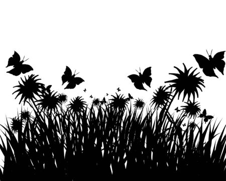 Vector grass silhouettes background. All objects are separated. Stock Vector - 5804425