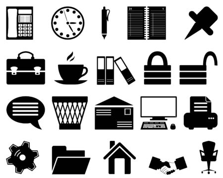 note pc: Business and office set of different vector web icons Illustration