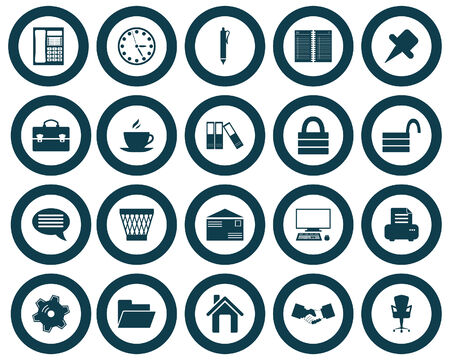 Business and office set of different vector web icons Stock Vector - 5804407