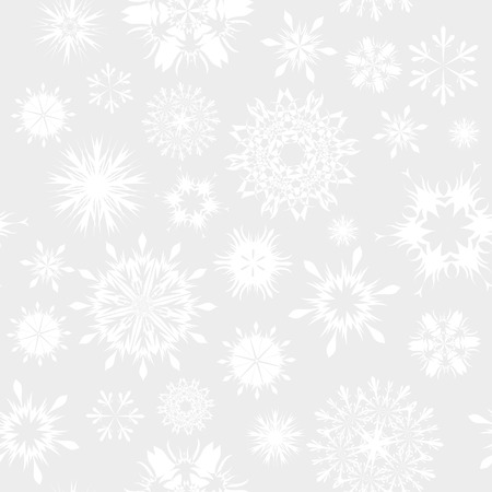 Seamless vector snowflakes background in different shapes Stock Vector - 5804428