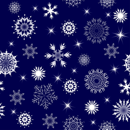 Seamless vector snowflakes background in different shapes Vector