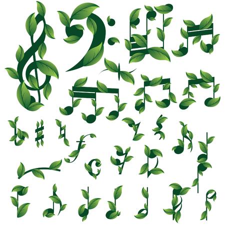minim: Set of floral musical notes