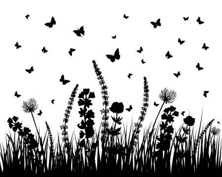 Vector grass silhouettes background. All objects are separated. Stock Vector - 5804559