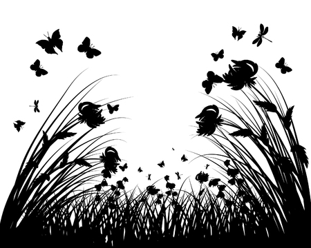 Vector grass silhouettes background. All objects are separated. Stock Vector - 5804558
